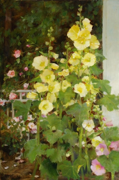 Hollyhocks with New Dawn Roses,  Kathy Anderson