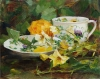 Green Tea & Yellow Roses by Kathy Anderson